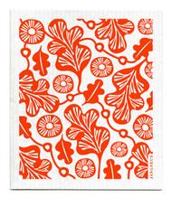 Jangneus Swedish dishcloth, Orange Oak Leaf, 100% biodegradable