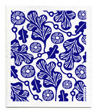 Jangneus Swedish dishcloth, Blue Oak Leaf, 100% biodegradable