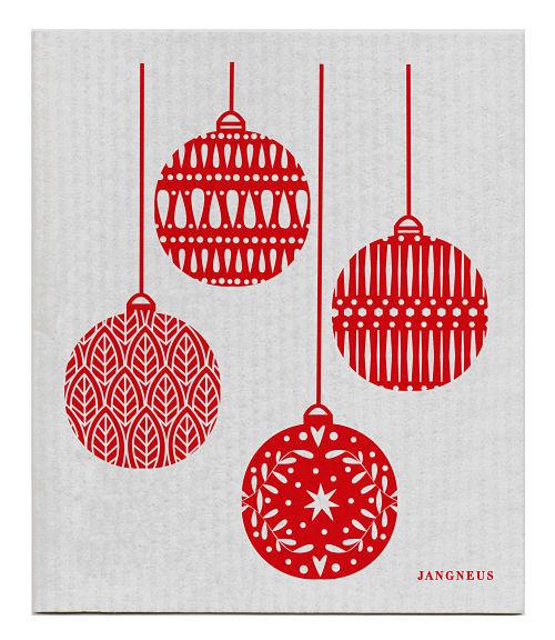 Swedish Dishcloth - Christmas Decoration - Grey/Red