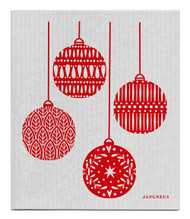 Swedish Dishcloth - Christmas Decoration - Grey/Red