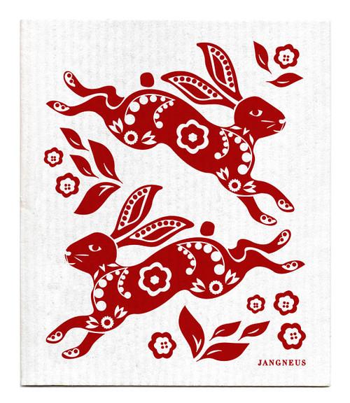 Jangneus Swedish dishcloth, Hare Red, 100% biodegradable