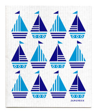Swedish dishcloth 100% biodegradable 7 by 8 inches, Boats by Jangneus