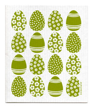 Swedish dishcloth 100% biodegradable 7 by 8 inches, Mini Easter egg Green by Jangneus