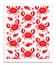 Swedish dishcloth 100% biodegradable 7 by 8 inches, Crabs red by Jangneus