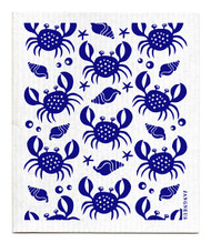 Swedish dishcloth 100% biodegradable 7 by 8 inches, Crabs blue by Jangneus