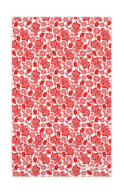 Jangneus kitchen towel oak leaf red