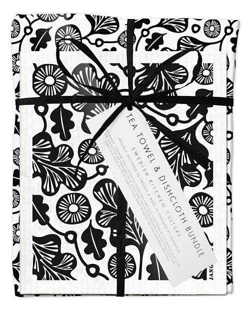 Bundle with 1 tea towel and 2 matching dishcloths oak leaf black