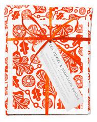 Bundle with 1 tea towel and 2 matching dishcloths oak leaf orange