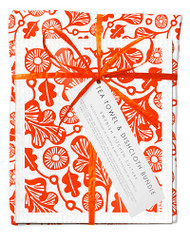 Bundle with 1 tea towel and 2 matching dishcloths oak leaf orange