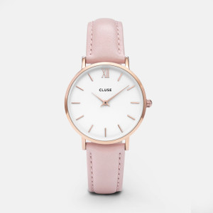 Cluse Minuit Rose Gold White/Pink Watch