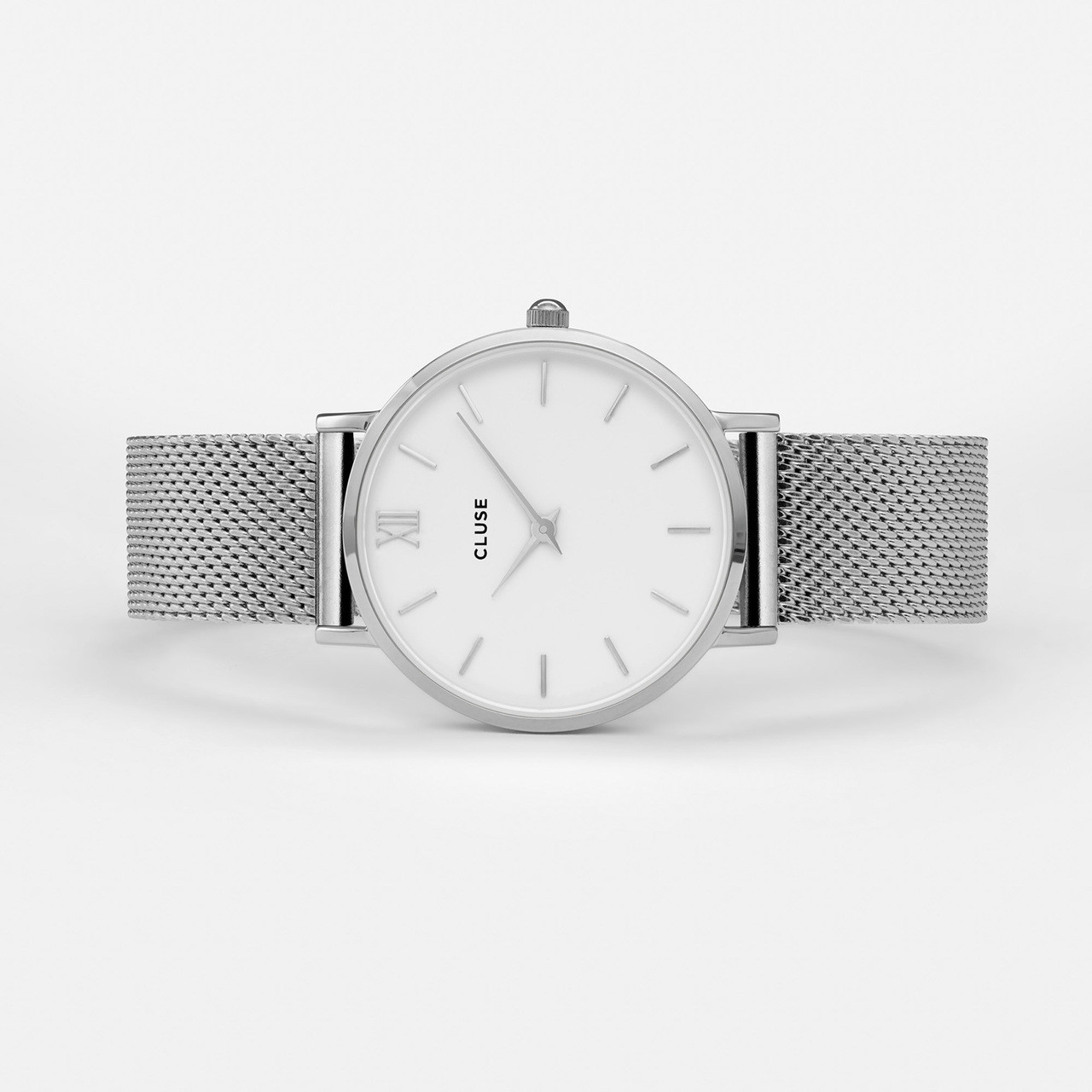 Cluse Minuit Mesh Silver White Watch CL30009  1a01df470a1