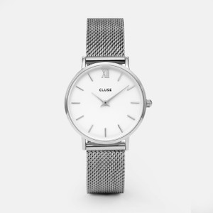 Cluse Minuit Mesh Silver/White Watch CW0101203002