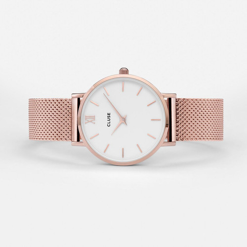 Cluse Minuit Mesh Rose Gold/White Watch CW0101203001
