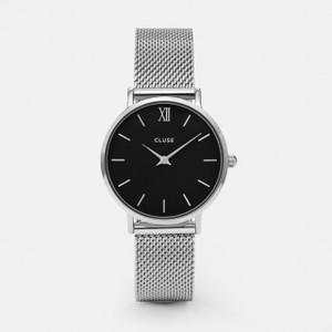 Cluse Minuit Mesh Silver/Black Watch CW0101203005