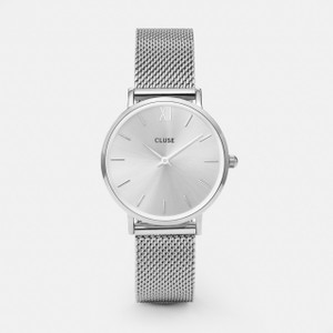 Cluse Minuit Mesh Full Silver Watch CL30023