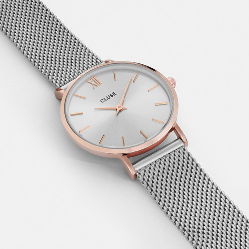 Cluse Minuit Mesh Rose Gold/Silver Watch CW0101203004