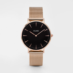 Cluse La Boheme Mesh Rose Gold/Black Womens Watch CL18113