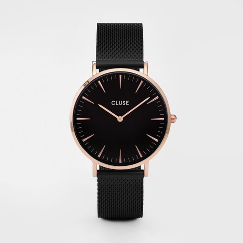 Cluse La Boheme Mesh Rose Gold Black/Black Watch CL18034