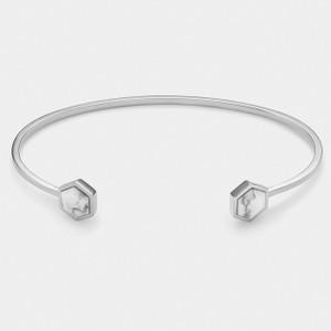 Cluse Idylle Marble Hexagon Silver Open Cuff Bracelet CLJ12003