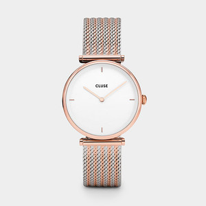 Cluse Triomphe Rose Gold Bicolor Mesh Watch