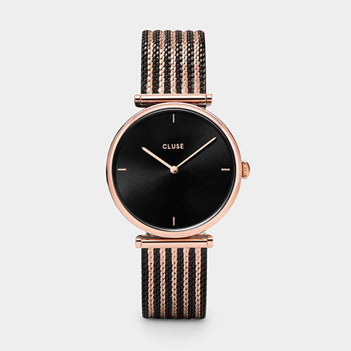 Cluse Triomphe Bicolor Rose Gold Black/Black Mesh Watch  CL61005