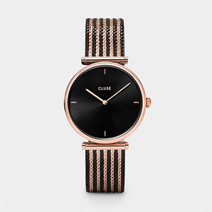 Cluse Triomphe Bicolor Rose Gold Black/Black Mesh Watch  CL61005