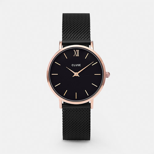 Cluse Minuit Mesh Rose Gold Black/Black Watch CW0101203024