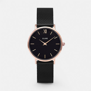 Cluse Minuit Mesh Rose Gold Black/Black Watch CL30064