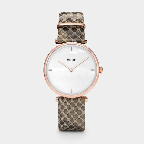 CLUSE Triomphe Rose Gold White Pearl / Soft Almond Python CL61007
