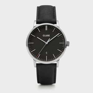 Cluse Mens Aravis Silver Black/Black Leather Watch CW0101501001