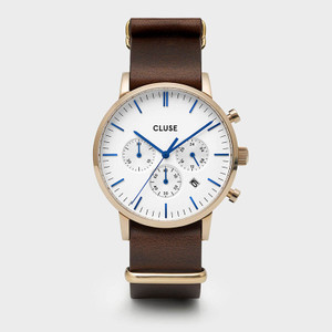 CLUSE Mens Aravis Chronograph Gold White/Dark Brown Nato Watch CW0101502009