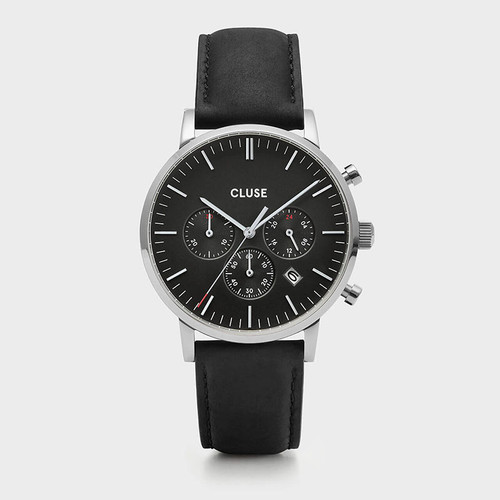 CLUSE Mens Aravis Chronograph Silver Black/Black Leather Watch CW0101502001