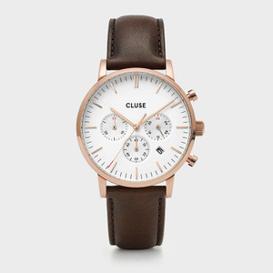 CLUSE Mens Aravis Chronograph Rose Gold White/Brown Leather Watch CW0101502002