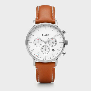 CLUSE Mens Aravis Chronograph Silver White/Light Brown Leather Watch CW0101502003