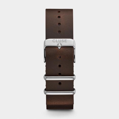 Cluse 20mm Nato Watch Strap Silver/Dark Brown CS1408101069