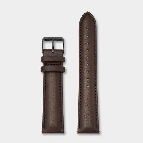 Cluse 20mm Leather Watch Strap Black/Dark Brown CS1408101067