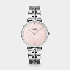 Cluse Triomphe Silver Salmon Pink Pearl/ Silver Watch CW0101208013