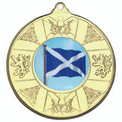Scotland Medal (1In Centre) - Gold 2In