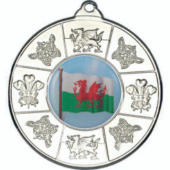 Wales Medal (1In Centre) - Silver 2In