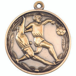 Double Footballer Medal - Antique Gold 2In