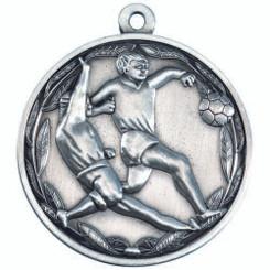 Double Footballer Medal - Antique Silver 2In