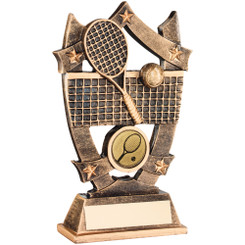 Brz/Gold/Yellow Tennis Rackets/Ball With Shooting Star Trophy - 5In
