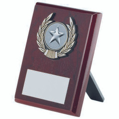 Rosewood Plaque And Silver Trim Trophy - (1In Centre) 6In