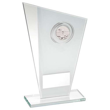 White/Silver Printed Glass Plaque With Pool/Snooker Insert Trophy - 8In
