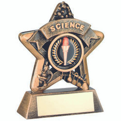 Mini Star 'Science' Trophy - Brz/Gold Science (1In Centre) 3.75In