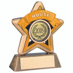 Mini Star 'House' Trophy - Brz/Gold/Yellow (1In Centre) 3.75In