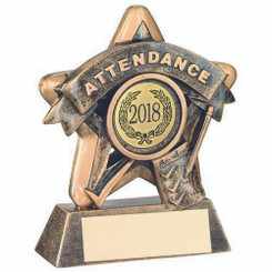 Mini Star 'Attendance' Trophy - Brz/Gold Attendance (1In Centre) 3.75In