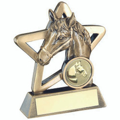 Brz/Gold Horse Mini Star Trophy - (1In Centre) 3.75In