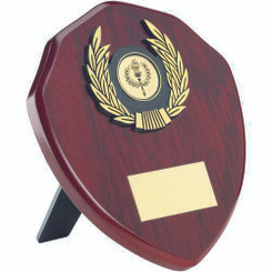 Rosewood Shield And Gold Trim Trophy - (1In Centre) 6In