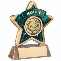 Mini Star 'House' Trophy - Brz/Gold/Green (1In Centre) 3.75In